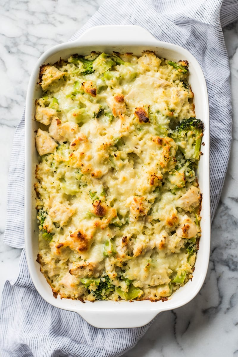 Cauliflower rice and broccoli casserole