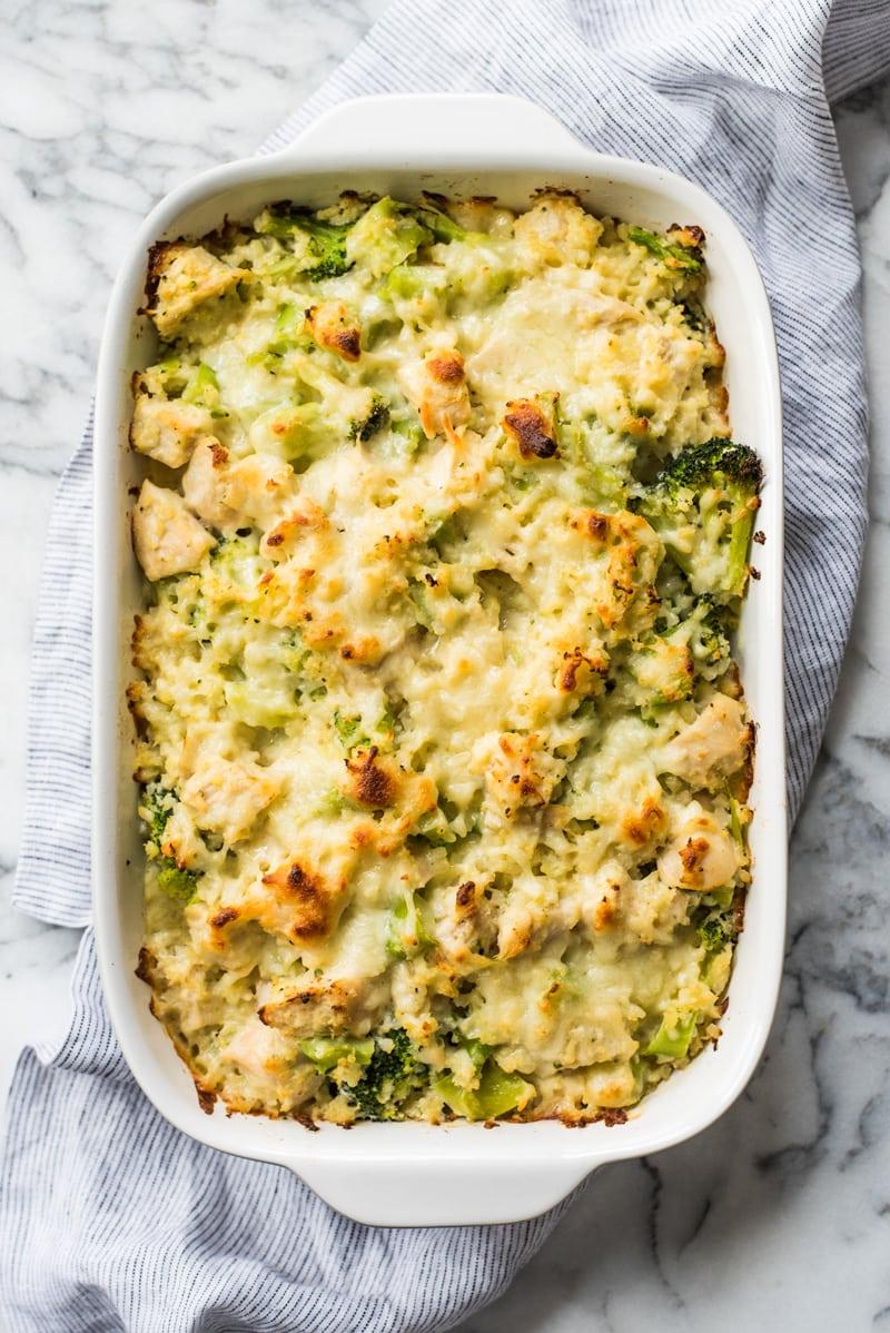 Cauliflower rice and broccoli casserole